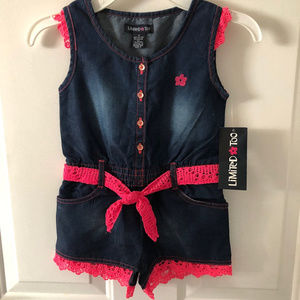 Limited Too Size 4 Jean Hot Pink Romper NWT